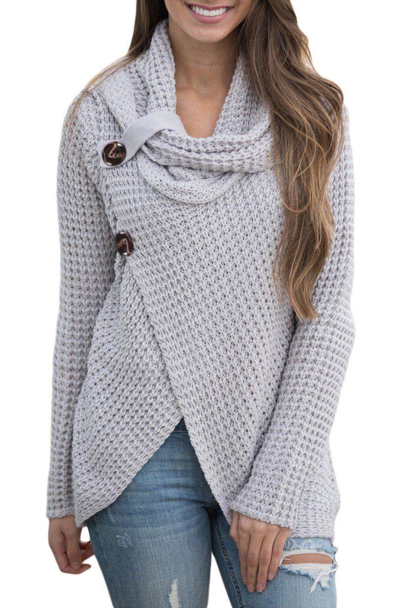 Grey Button Wrap Cowl Neck Sweater modeshe.com  Grey  unique  women   fashion  beautiful  inspiration 066e22029