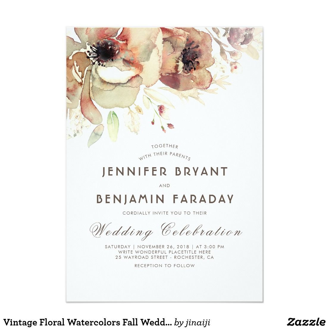 Vintage Floral Watercolors Fall Wedding Invitation | { Wedding ...