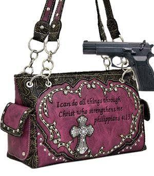 Studded Biblical Verse & Cross Shoulder Bag w/Rhinestone(Concealed Carry Purse) HANDBAG PURSE - HOTPINK ANYTHINGEVERYTHINGSHOP http://www.amazon.com/dp/B00MCEZPHU/ref=cm_sw_r_pi_dp_ZrFbvb1RYD374
