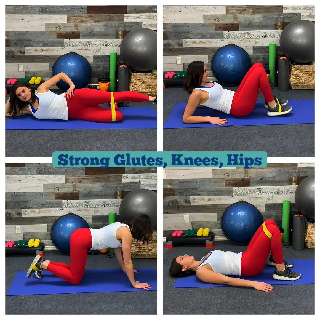 The benefits of strong glutes and hips are endless. Reduced back pain, knee pain and improved strength. We often neglect the hips and glutes but we've put together 4 essential miniband exercises you can do any time and reap the benefits of having this new found strength. Straight Leg Side Raises - Lie on your side, extend top leg, place band above or below the knee joint and engage your core. Gently lift the leg and squeeze the glute before returning back down. This is excellent for someone who