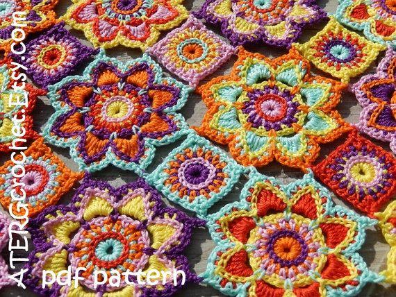 Crochet pattern flower baby blanket by ATERGcrochet | Häkeln ...