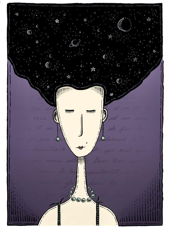 Mujer Noche Dibujo con tinta china y coloreado digital Por Luis