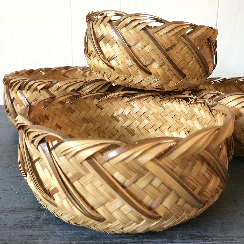 woven bamboo nesting baskets - round rattan storage - boho wall ...