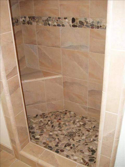 River Stone Shower Floor And Accent Build That