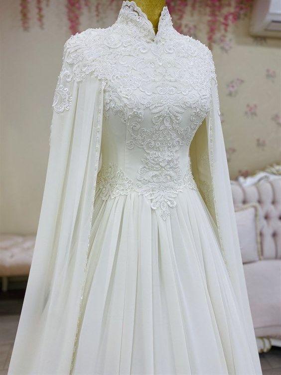 White Arabic Style Women Evening Dress, Prom Dress M1922