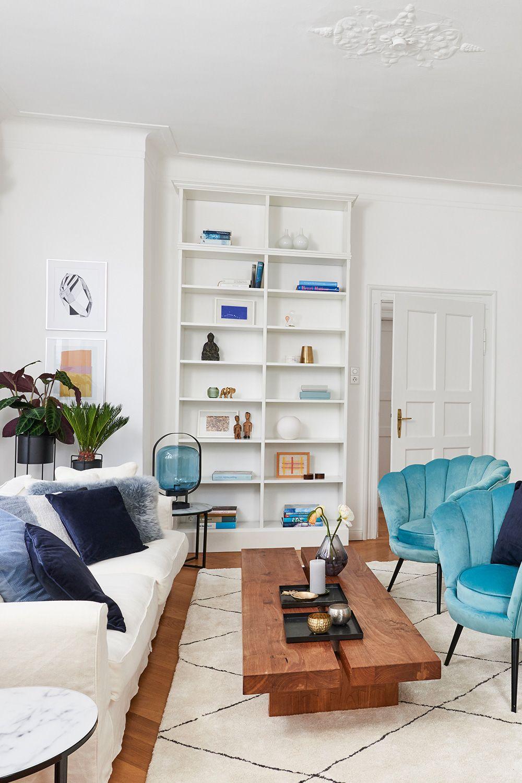 Wohnidee fürs Wohnzimmer: Blaue Akzente sorgen für ...