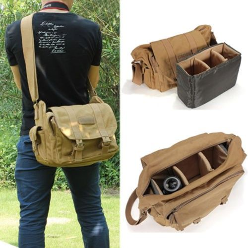 Vintage Canvas Camera Backpack Rucksack Bag Case For DSLR Canon Nikon Olympus