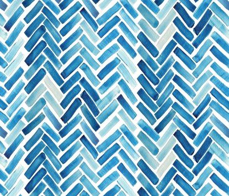 Colorful fabrics digitally printed by Spoonflower - Blue herringbone watercolor