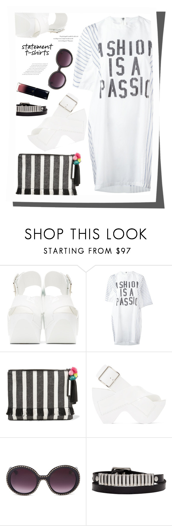 """""""Slogan T-Shirts"""" by joliedy ❤ liked on Polyvore featuring Acne Studios, Sacai, Loeffler Randall, Moschino, Balenciaga, Lacoste and McQ by Alexander McQueen"""