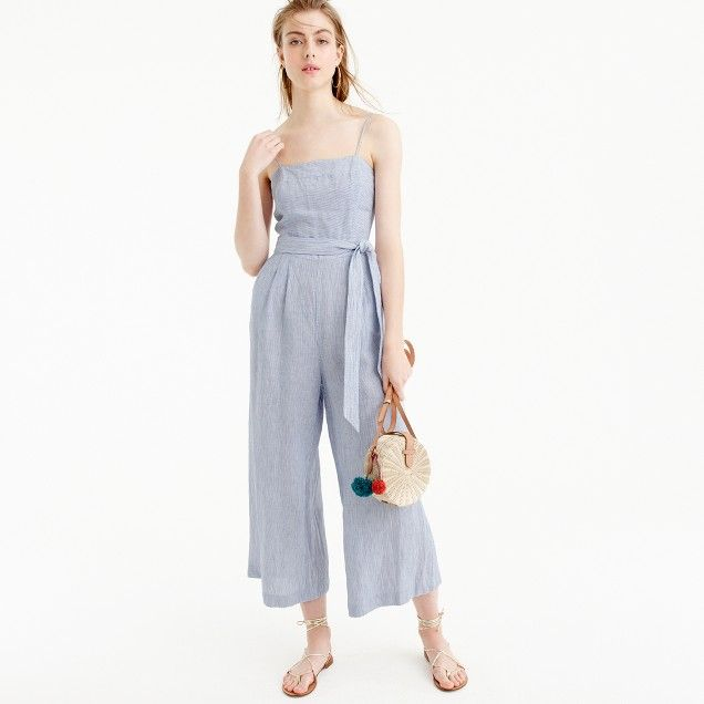 a2cd2c919b98 Striped linen jumpsuit with tie