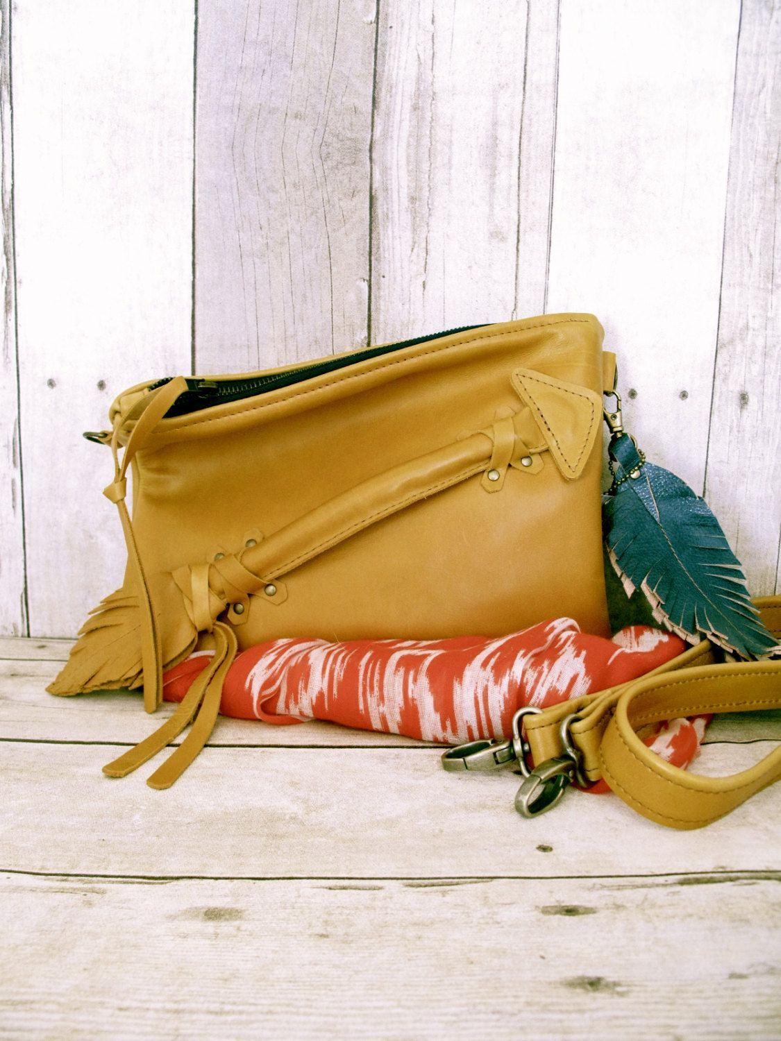Photo of Borsa in pelle, piccola borsa di cuoio, Cross Body Bag, pochette in, Messenger bag, freccia borsa, sacchetto della chiusura lampo, sacchetto unico, Golden Yellow