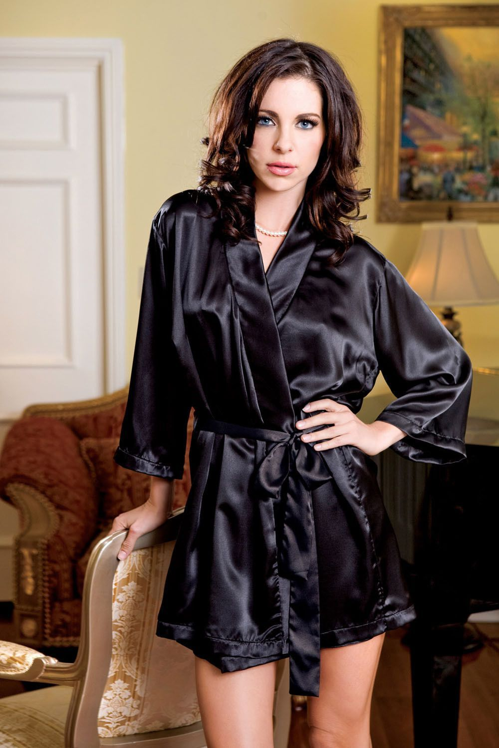 cb370a6f41d Details about iCollection Satin 3 4 Sleeve Robe with Matching Sash ...