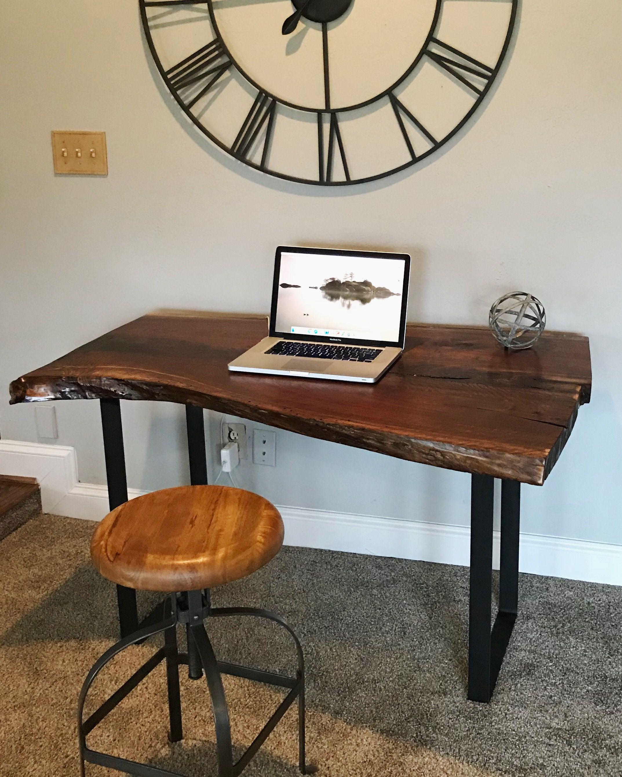 Mid Century Walnut Live Edge Coffee Table: Live Edge Desk/Live Edge Slab/Live Edge Coffee Table/Black
