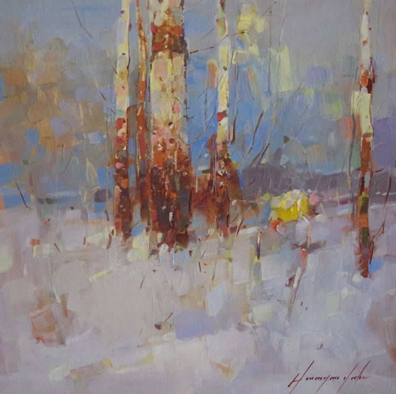 """Saatchi Art Artist Vahe Yeremyan; Painting, """"Birches Grove, Landscape oil Painting, One of a Kind"""" #art"""