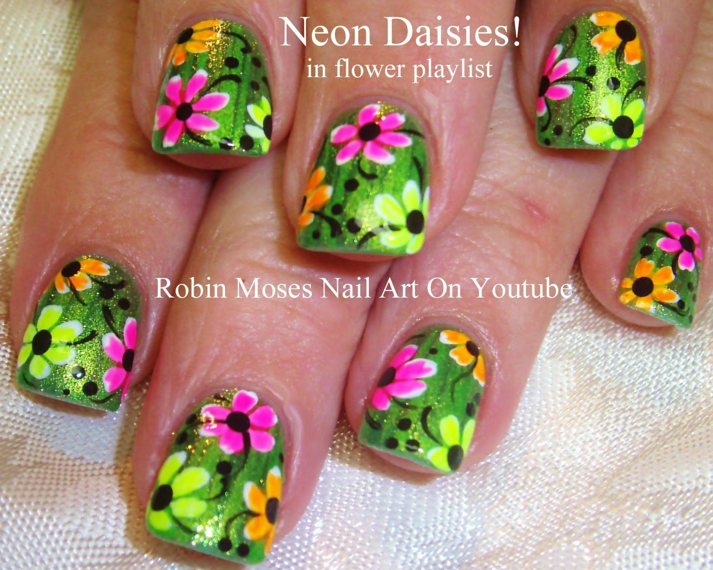Easy Neon Daisy Nail Art Tutorial | robin moses nail art videos ...