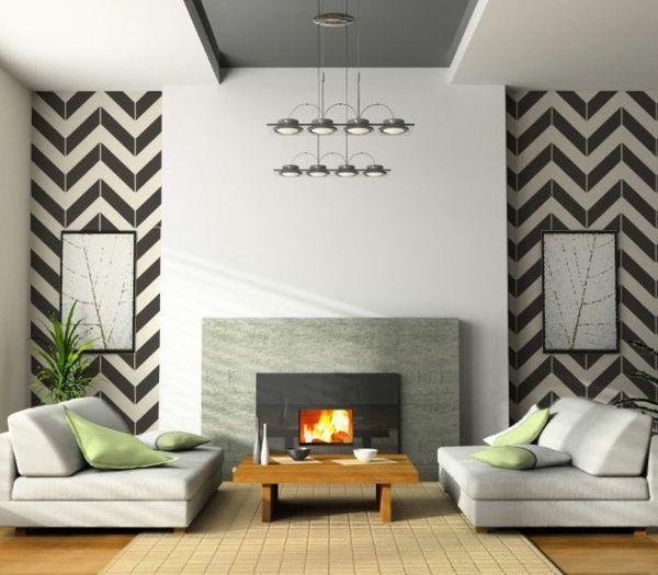 nice Déco Salon - Le papier peint noir et blanc est toujours un