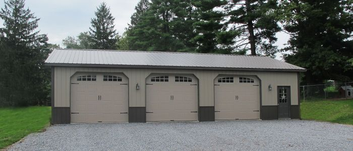 3 car garage clay side metal with bronze roof trim and for Metal 3 car garage