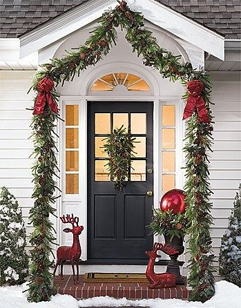 Top 40 Christmas Door Decoration Ideas From Pinterest Christmas Is Almost Knocking At Christmas Porch Decor Front Porch Christmas Decor Christmas Front Doors
