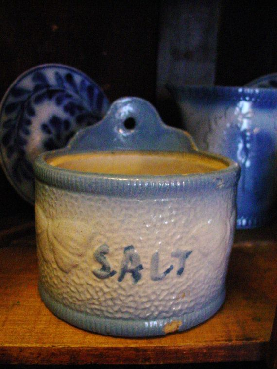 Antique Blue And White Stoneware Butterfly Salt Collectible Pottery White Pottery Antique Stoneware