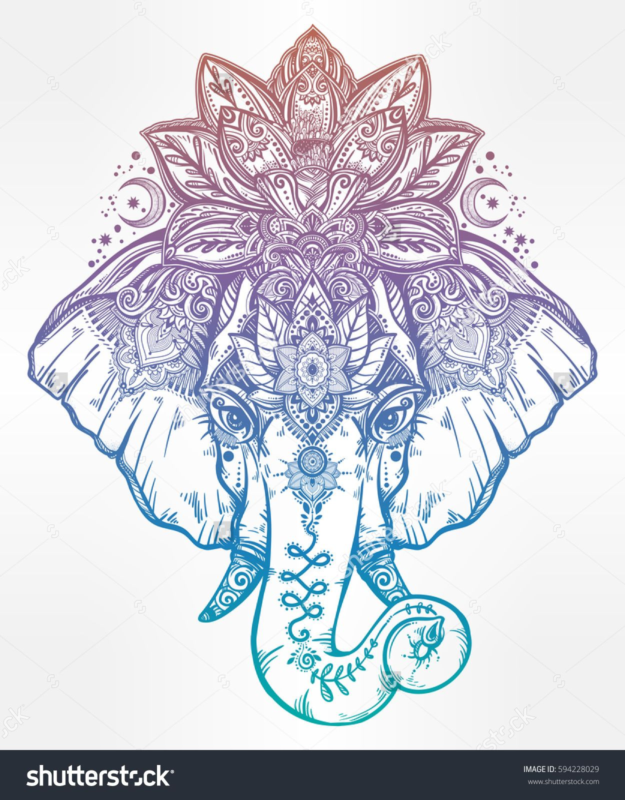 Vintage Style Vector Elephant With With Ornate Lotus Mandala Crown