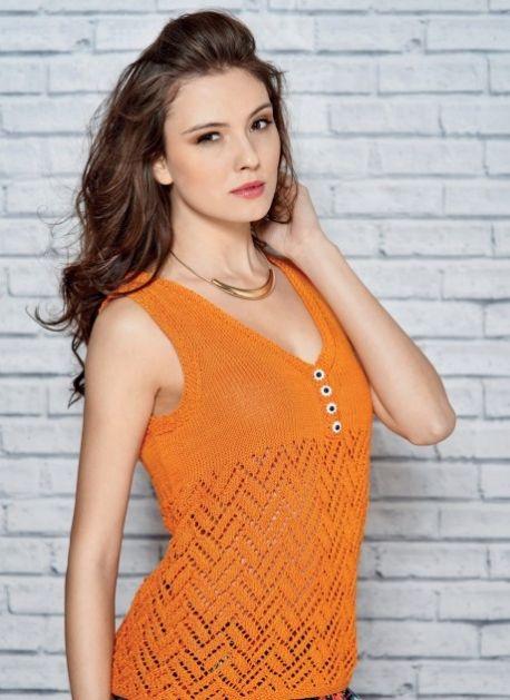 Summer Top - Free Knitting Patterns - Garments   Sommer und Handarbeiten