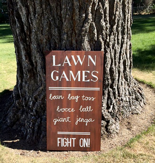 Lawn Are A Cute Idea For An Outdoor Wedding Love The Sign It