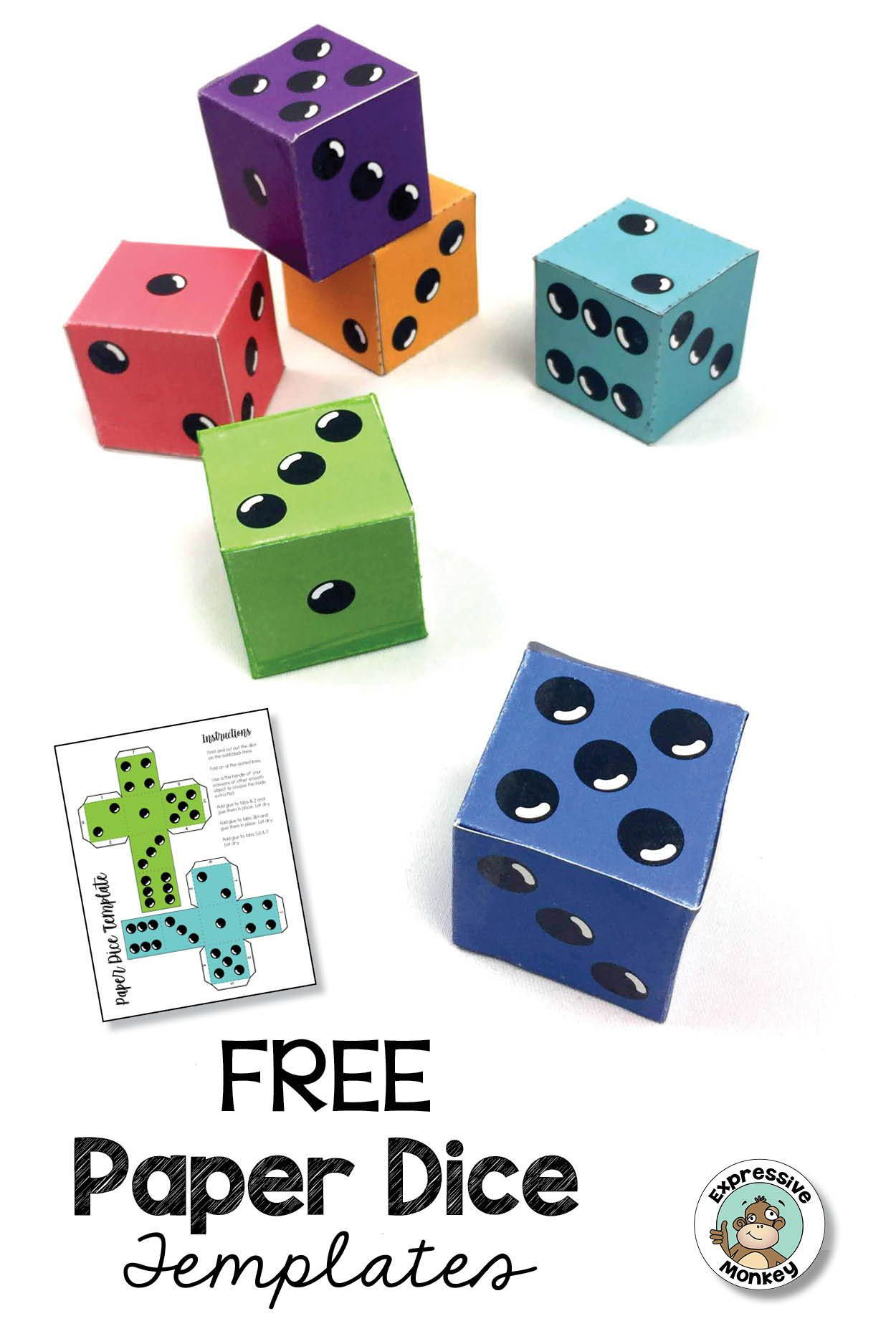 Paper Dice Templates For Art Activities And Math Games