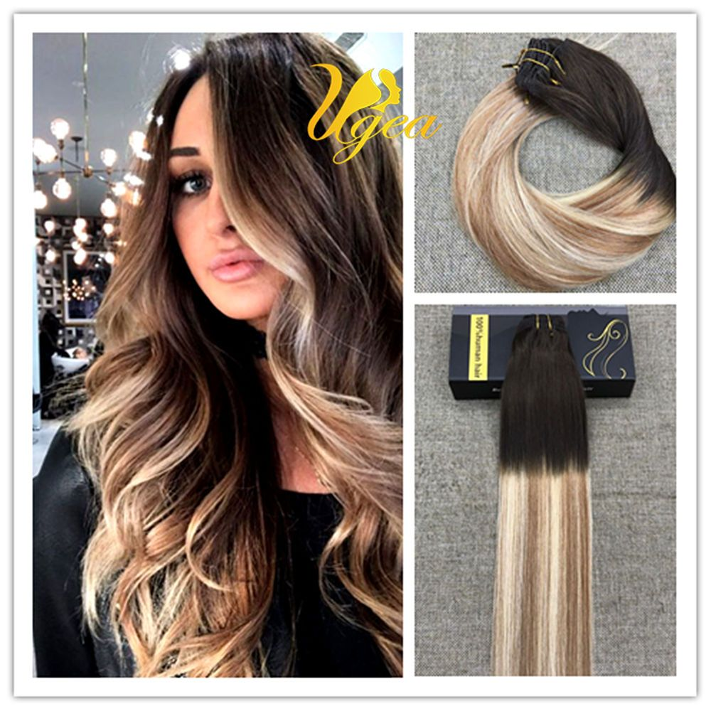 Ombre Balayge Clip In Dark Brown To Brown To Blonde Remy Hair