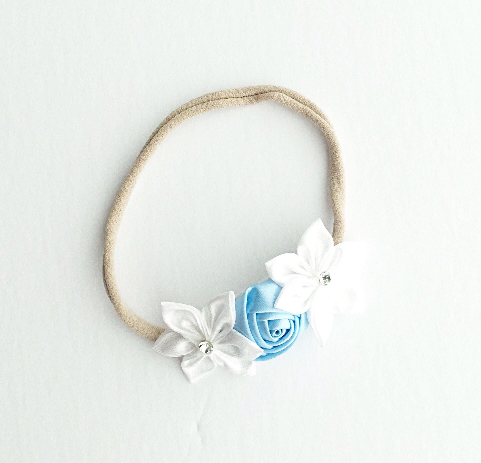 Blue Flower Headband Or Flower Crown With White Flowers And Jewels