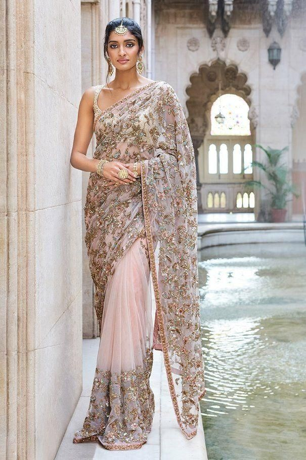 105 Exclusive Designer Baby Pink Color Embroidered Saree-Bridal Lehenga Store CM305