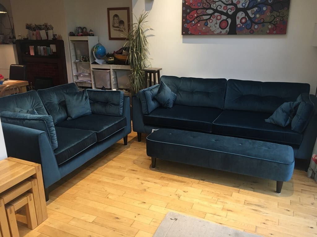 Our New Sofology Plush Velvet Cricket Sofa In Teal Navy Sofa Living Room Velvet Sofa Living Room Corner Sofa And Chair