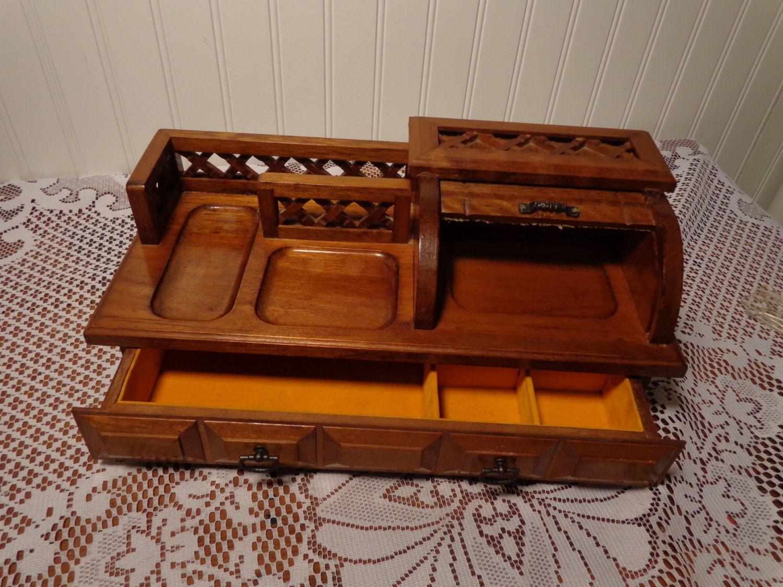 Vintage Dresser Valet With Drawer Men 39 S Wood Jewelry Box With Roll Up Top 16 401 Vintage Dressers Wood Jewelry Box Dresser Valet