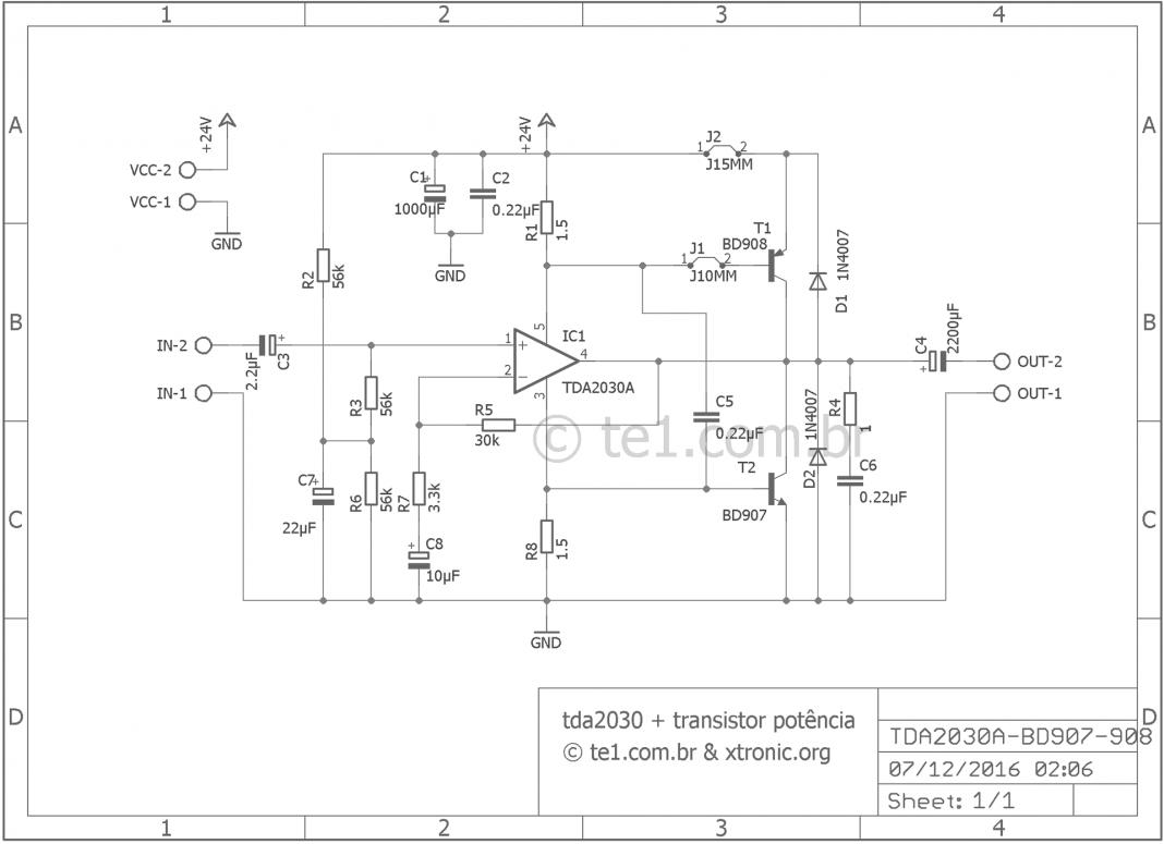 Tda2030 40 Watt Amplifier Transistor Power Esquem 700x508 80w Audio Based On Tda7295 Circuit Diagram Amplificador Potncia Transistores Tip41 E Tip42 Circuito
