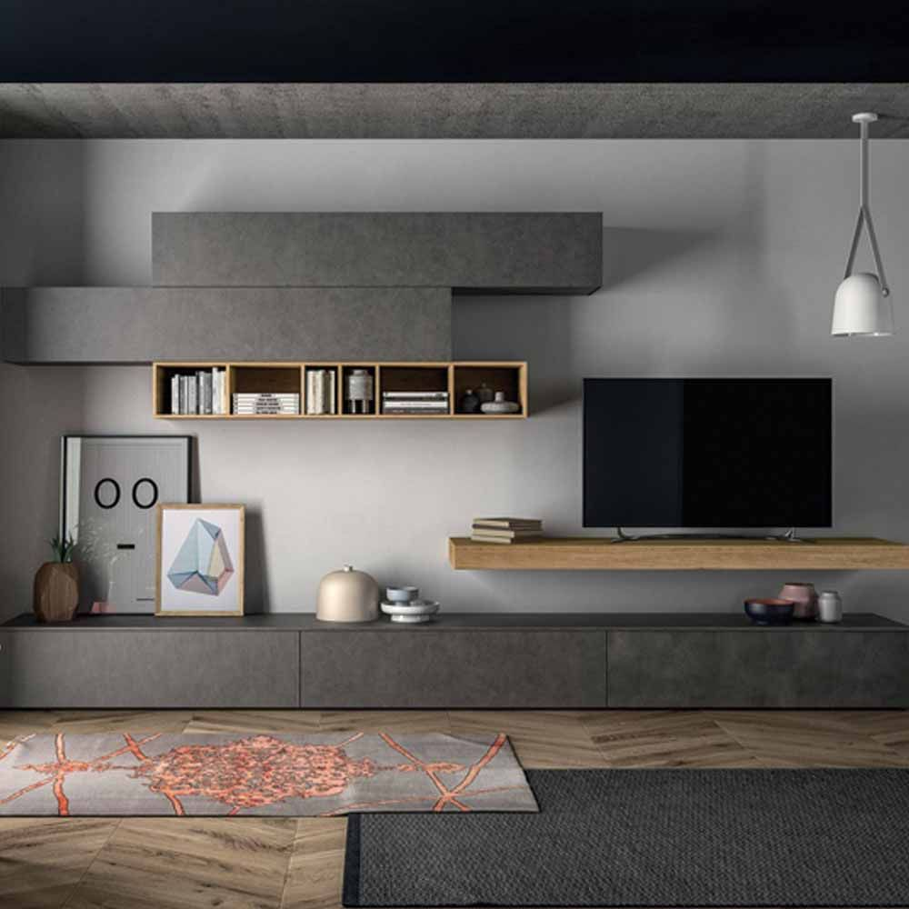 Minimalist Anthracite Tv Unit By Dall Agnese  # Meubles Derangement Tele Minimaliste