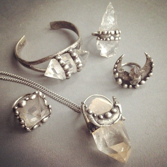 silver, quartz crystal, and moon collection by aurorashadow