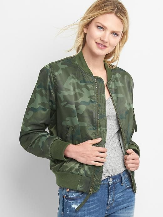 1b576d2158ee7 Gap Womens Camo Nylon Bomber Jacket Camo Print | Top Womens Fashion ...