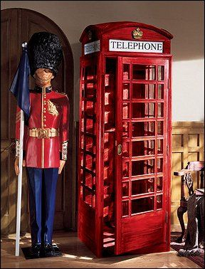 Charmant Red Phone Booth Media Cabinets