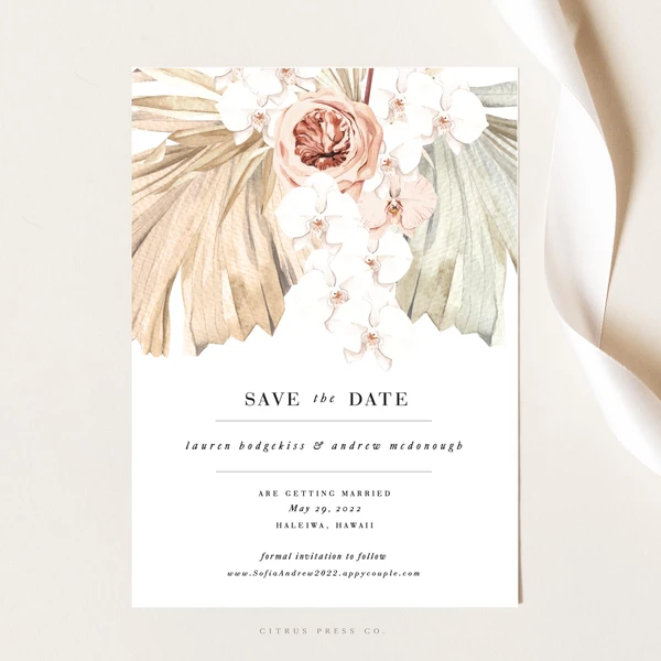 Pampas Grass Save The Date Wedding Invitations Boho Floral Save The Dates Boho Invitations