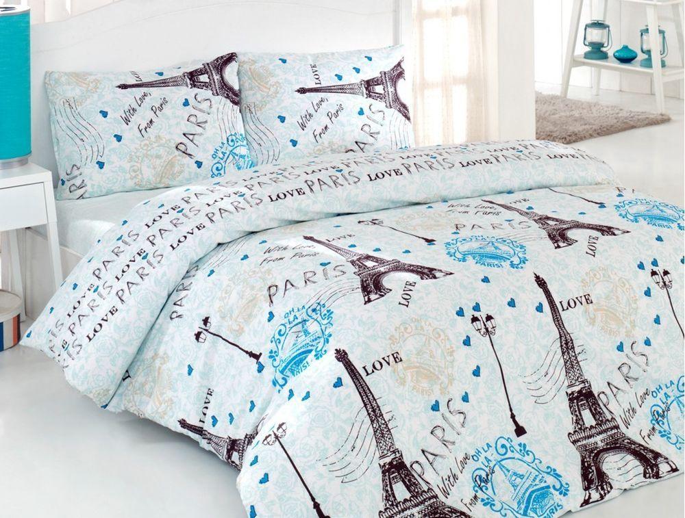 100 Cotton 4 Pcs Turquoise Paris Eiffel Tower Queen Double