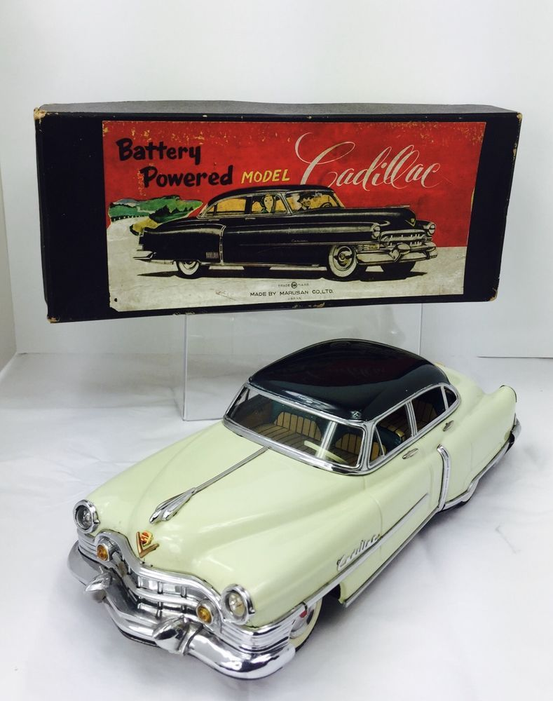 Vintage 1950's Battery operated Japan Marusan Cadillac 12.25″ Original Box  Rare #Marusan