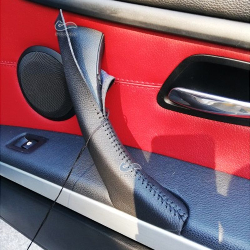 Hand Sewing Door Handle Pull Microfiber Leather Cover Trim For Bmw 3 Series E90 E91 2005 2012 325 330 318 Rhd Lhd Interior