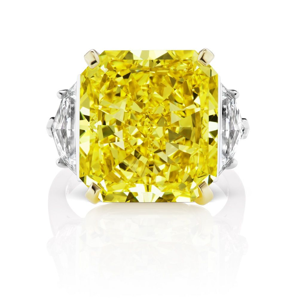 Extraordinarily Vivid 17 Carat Fancy Vivid Yellow Radiant Shaped