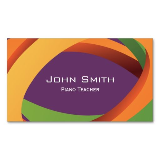 Abstract Curves Piano Teacher Business Card Teacher Business - Substitute teacher business card template