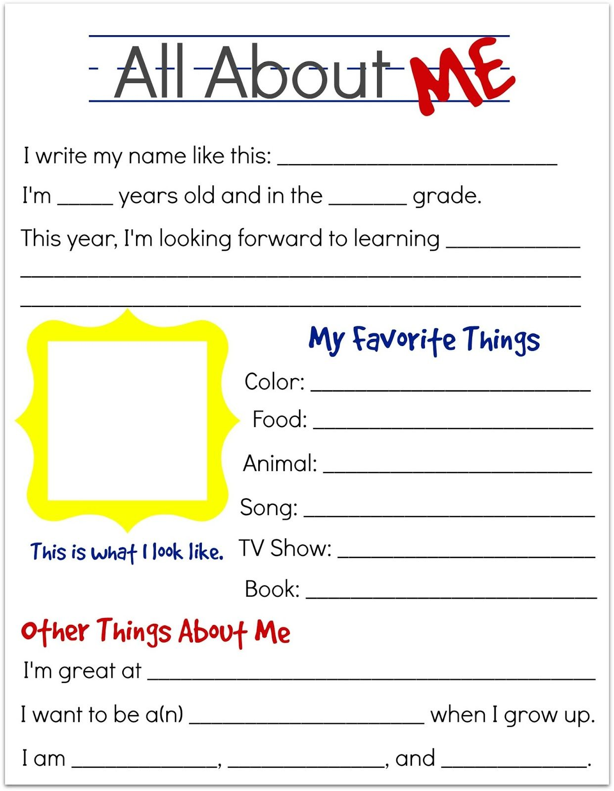 back to school interview questions for kids free printable | KBN ...