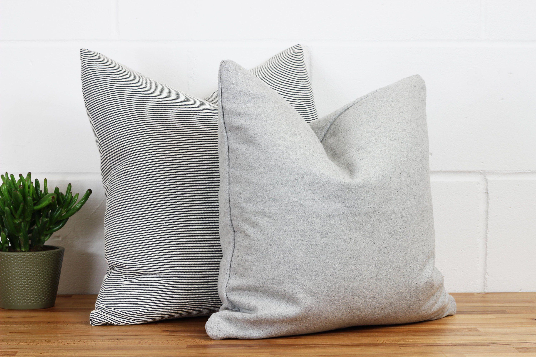 grey wool throw pillow