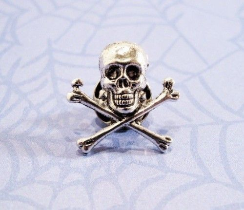 PIRATE SKULL & CROSSBONES LAPEL PIN HAT TAC NEW Overig