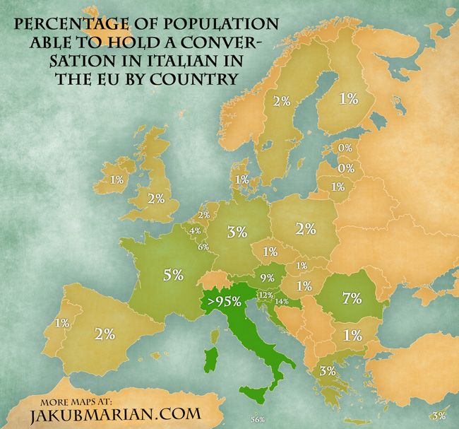 Percentage of population able to speak Italian in the EU Language - new world map by population