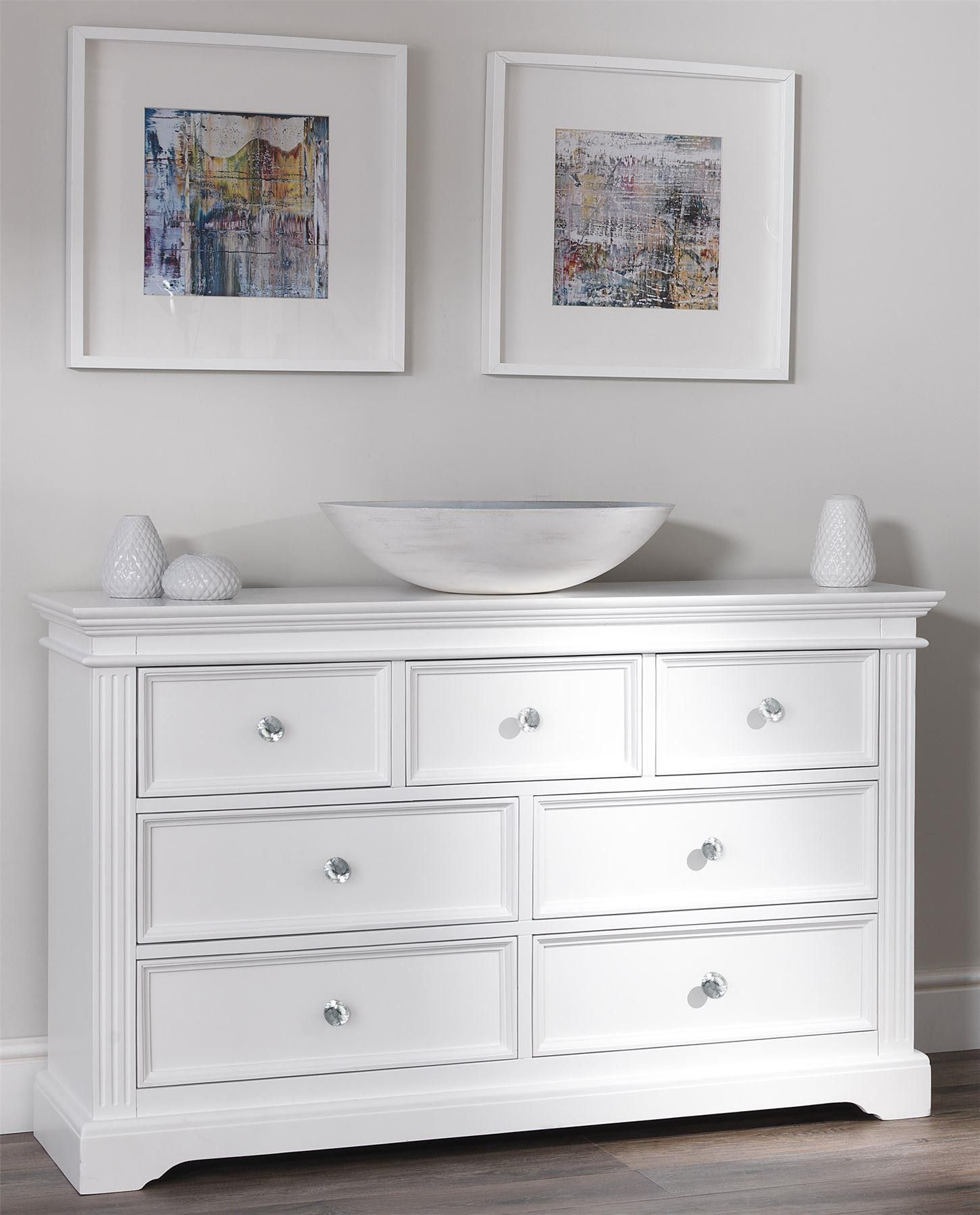 Gainsborough White 7 Draw Chest With Crystal Handles White Chest Of Drawers White Bedroom Vanity Bedroom Chest Of Drawers