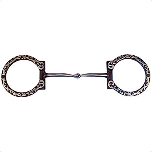 Partrade Western Dee Ring Floral Sweet Iron Snaffle Horse Bit Partrade