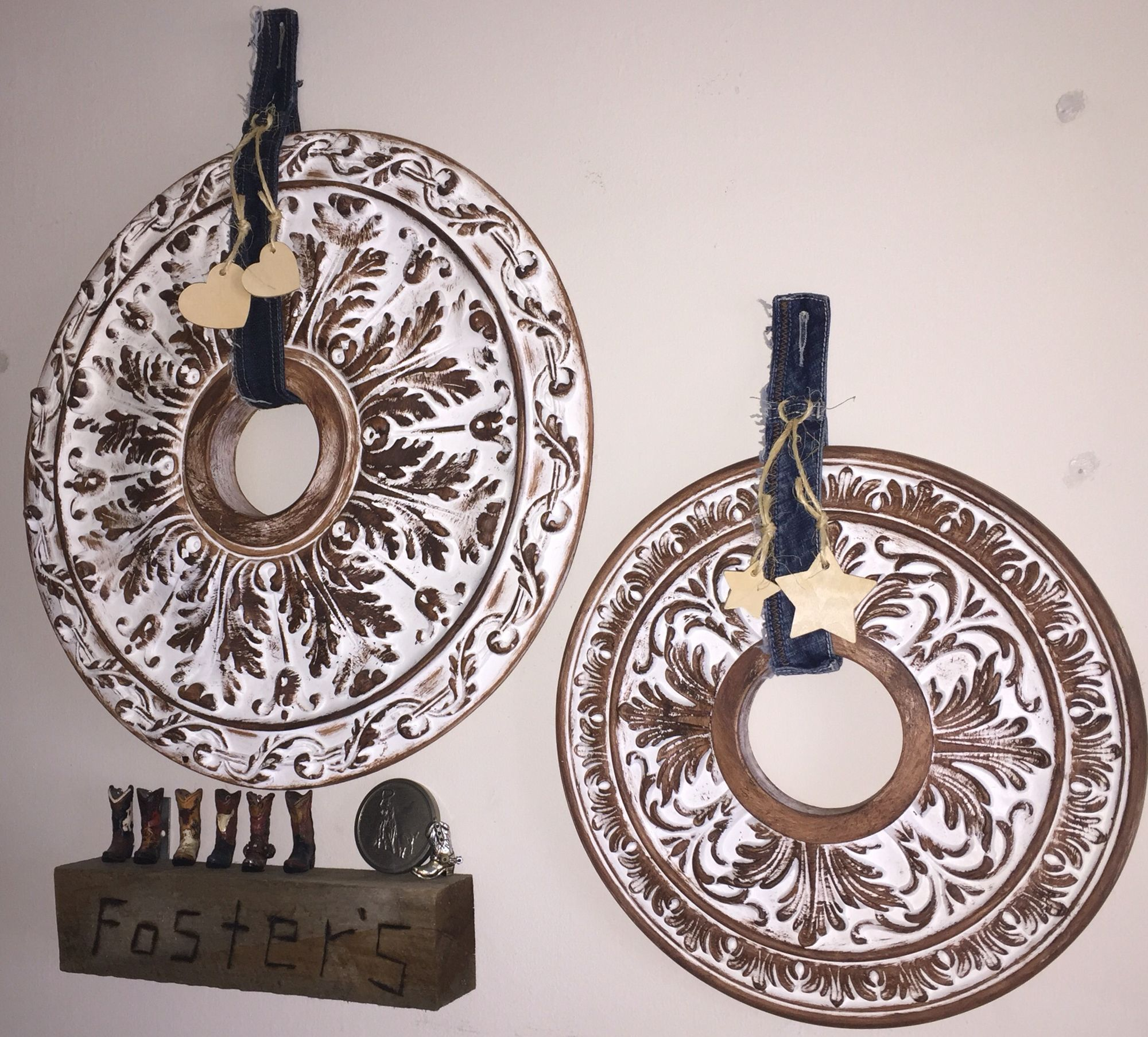 Ceiling fan medallions make over in to country wreaths